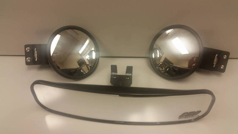 "Polaris General 1000 >> 13"" Wide Panoramic Rear view Mirror and (2) Round Side Mirrors for 1-3/4"" Round Cages"