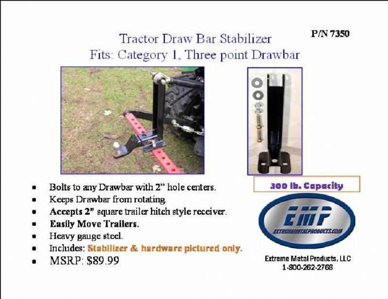 3 Point Hitch Draw Bar Stabilizer : Tractor pt hitch drawbar stabilizer