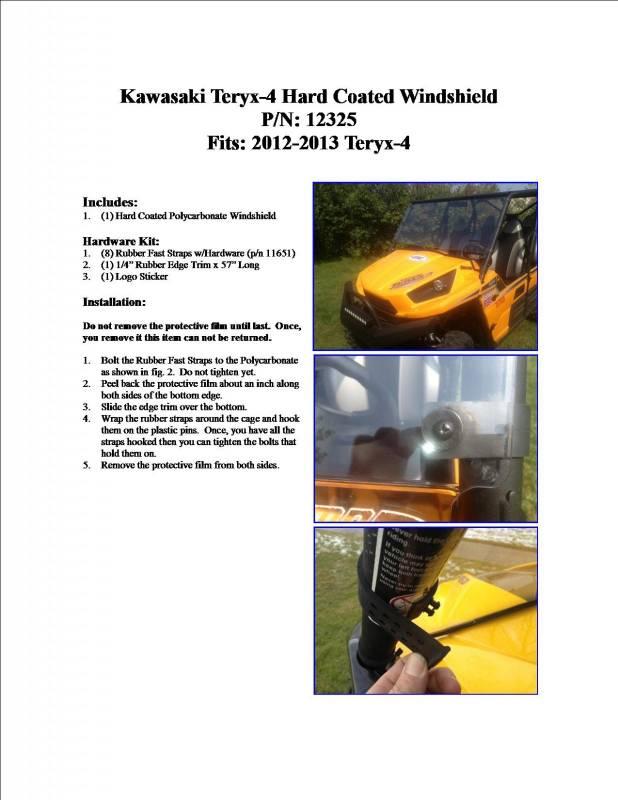 Kawasaki Teryx Windshield Dimensions