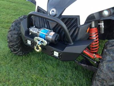 Extreme Metal Products, LLC - Maverick Front Bumper/ Brush Guard with Winch Mount with LED Lights - Image 1
