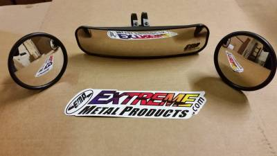 "Extreme Metal Products, LLC - 13"" Wide Panoramic Rear view Mirror and (2) Round Side Mirrors for 1-3/4"" Round Cages"