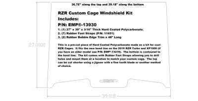 Extreme Metal Products, LLC - RZR Custom Cage Windshield Kit for 2019-21 RZR Turbo and RZR XP1000 - Image 1