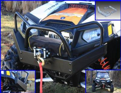 Extreme Metal Products, LLC - RZR Outback Edition Front Bumper / Brush Guard with Winch Mount