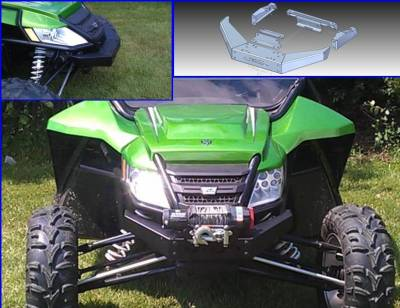 Extreme Metal Products, LLC - Wildcat 1000 Extreme Front Bumper / Brush Guard with Winch Mount