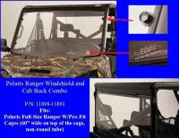 "Polaris - RANGER®  - Full Size - Extreme Metal Products, LLC - Polaris Ranger Windshield & Cab Back Combo (Full Size Rangers with 60"" wide Pro-Fit Cage)"