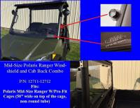 Polaris - RANGER®  - Mid Size - Extreme Metal Products, LLC - Mid-Size Ranger Windshield & Cab Back Combo